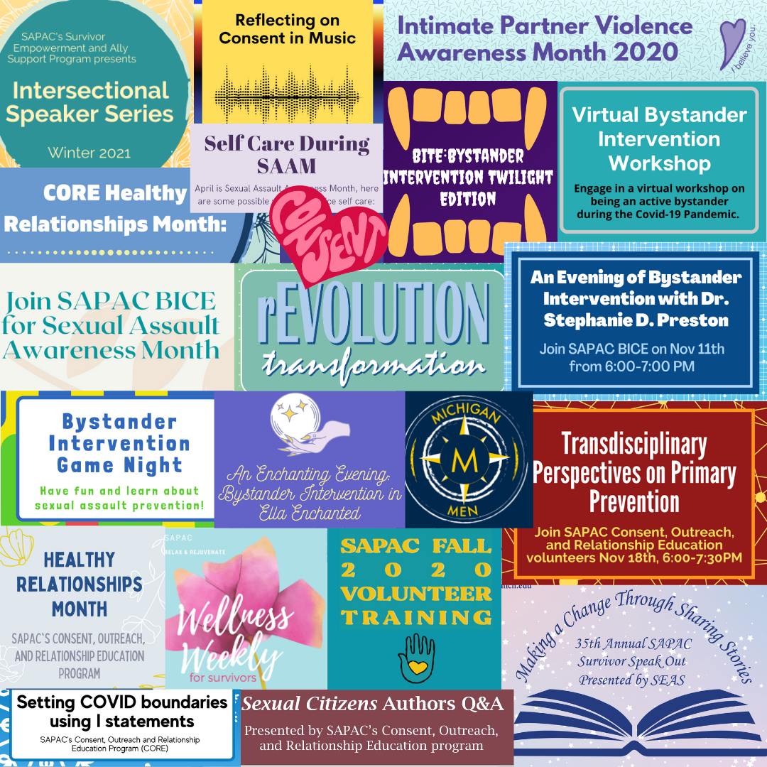 A collage of logos, fliers, and other designs from this year's SAPAC volunteer efforts