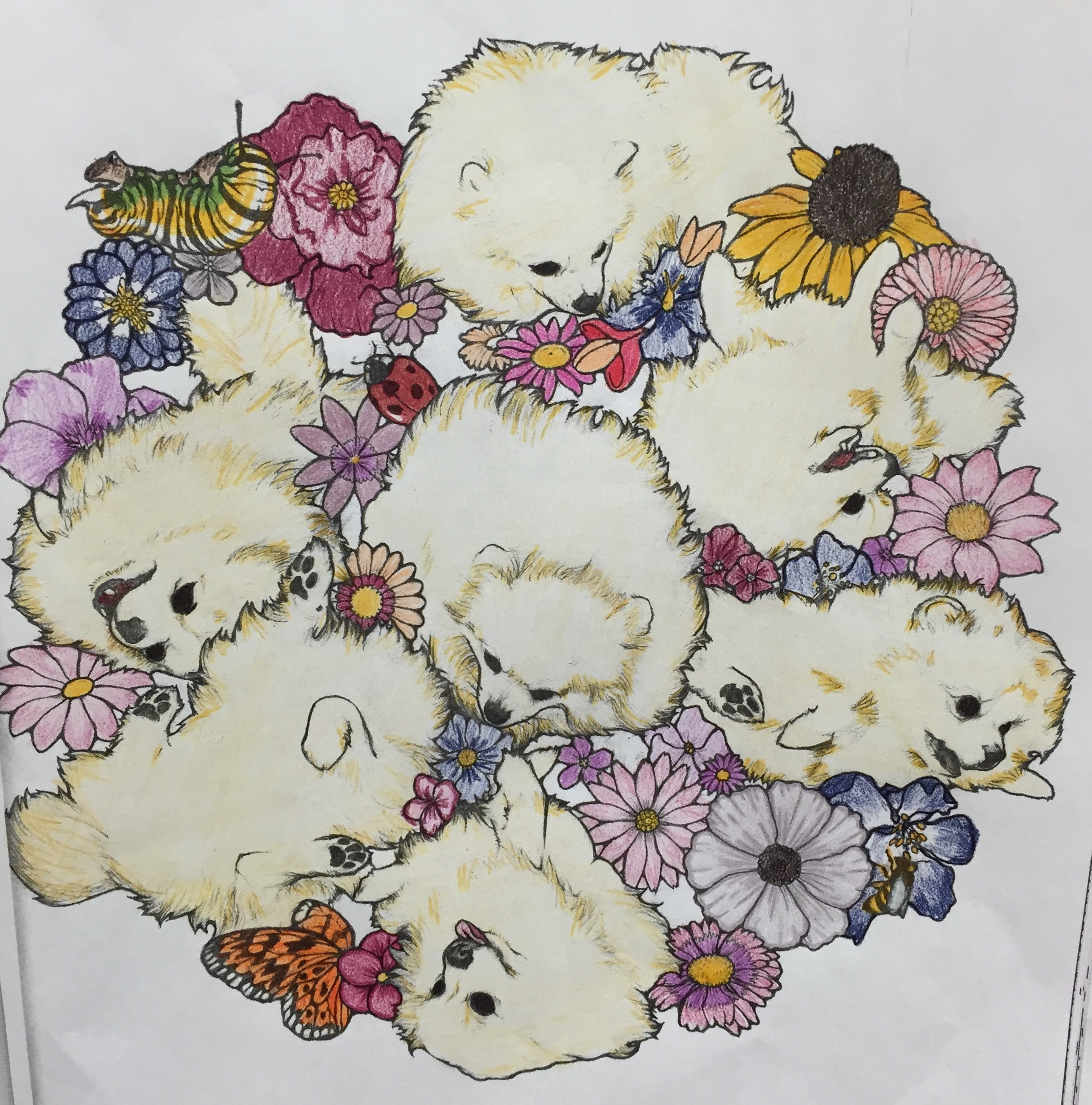 An illustration of Pomeranians with flowers.
