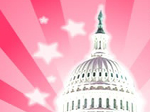 Congressional building with pink background