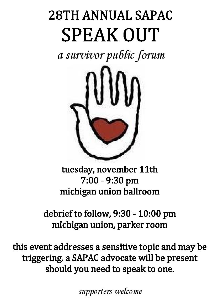 Flyer for Speak Out with date and time information