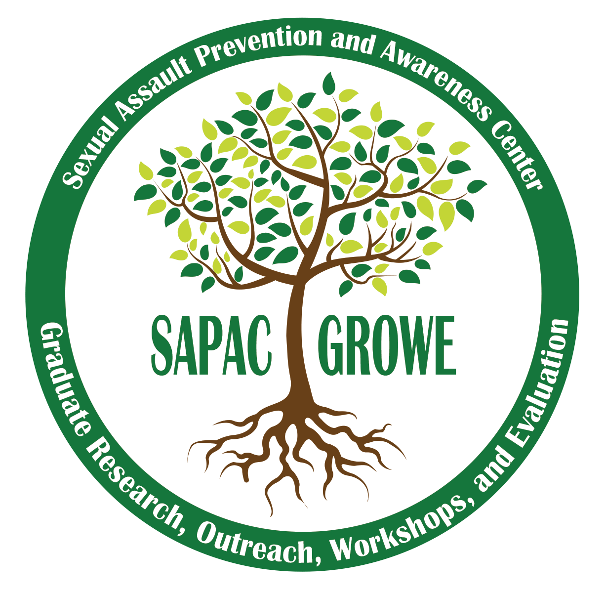 A logo that has leaves and roots spreading over the words SAPAC GROWE
