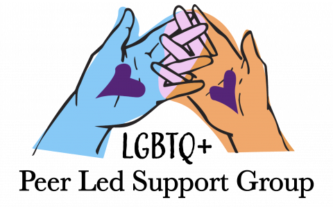 Multicolored hands with hearts on their palms interlocking their fingers over the words LGBTQ+ Peer Led Support Groups. Text lower on the flier restates text on this web page.