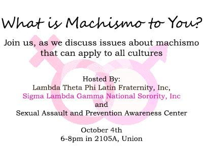 """What is Machismo to You?"" event poster"