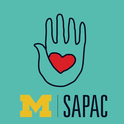 SAPAC Logo of a grey hand with a red heart in the palm