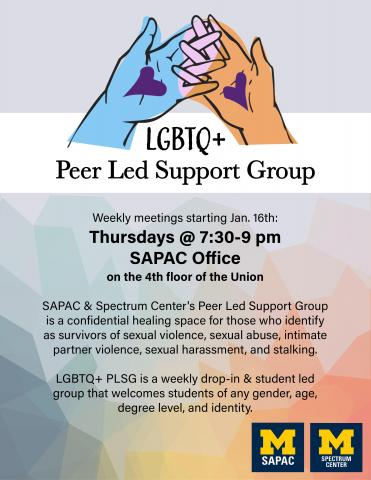 Multicolored hands with purple hearts on their palms interlocking their fingers over the words LGBTQ+ Peer Led Support Group. Text lower on the flier restates the time and date information listed on this web page.