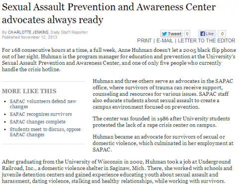 Screenshot of the article in the Michigan Daily