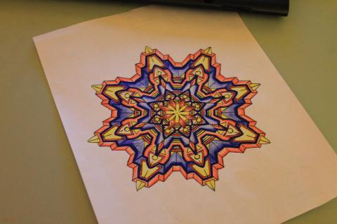 Photo of colored-in Mandala by PLSG Member