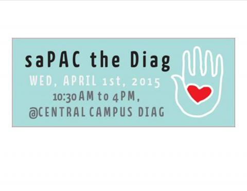 Photo of promotional material used for Peer Education event, saPAC the Diag