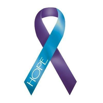 purple and teal ribbon that says hope on it