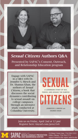 Sexual Citizens Authors Q and A presented by SAPAC's Consent, Outreach, and Relationship Education Program