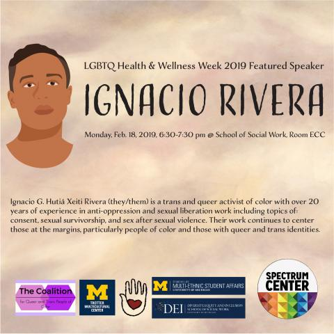 Flier that re-states the information in the event description with a drawn picture of Ignacio on the left.