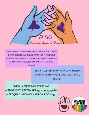 Multicolored hands with purple hearts on their palms interlocking their fingers over the words Peer Led Suppoty Group. Text lower on the flier restates the time and date information listed on this page.