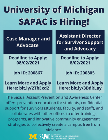 Flier sharing that SAPAC is hiring two full-time professional positions