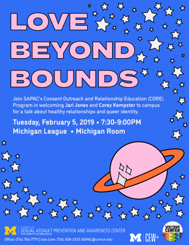 Blue background with stars, planets, and large pink text saying love beyond bounds. There is smaller text that re-states the time and location details.