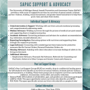 A list of SAPAC services that include individual advocacy and support groups. All text from image is on this page. More information can be found under the services tab of our website.