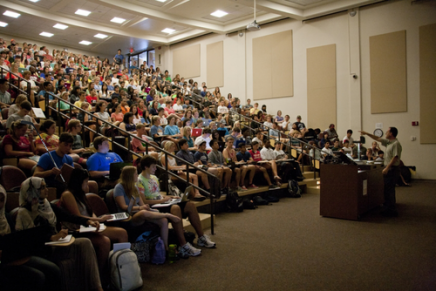 Professor in a large lecture hall