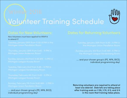 SAPAC Volunteer Training flyer