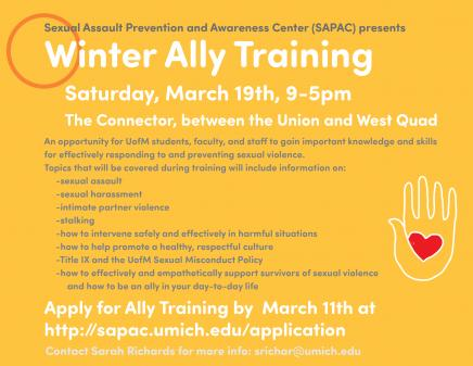 Winter Ally Training Poster, with information on registering